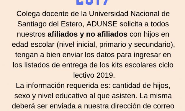 KITS ESCOLARES 2019